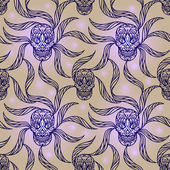 Skull seamless pattern — ストックベクタ