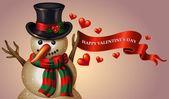 Valentine's Day snowman — Stock Vector