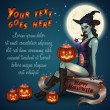 Witch with Happy Halloween signature — Imagen vectorial