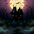 Stock Vector: Halloween house