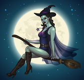 Witch flying on full moon background — Stockvector
