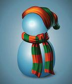 Snowman in beanie hat — Stock Vector