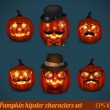 Halloween pumpkin hipster icon set — Stock Vector