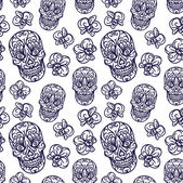 Hand-drawn skull seamless pattern — Stockvector