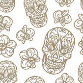 Hand-drawn skull seamless pattern — Stock Vector