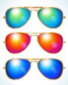 Set of colorful aviator shape sunglasses — Stock Vector