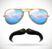 Wayfarer sunglasses reflecting mountains landscape and mustaches — Stock Vector