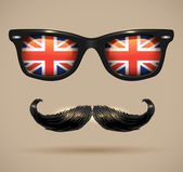 Vintage silhouette of mustaches, sunglasses with UK flag reflection — Stock Vector
