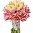 Wedding bouquet of yellow and pink tulips isolated on white — Stock Photo #21693689