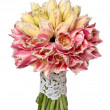 Wedding bouquet of yellow and pink tulips isolated on white — Stock Photo