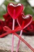 Lollipops in heart shape — Stock Photo