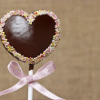 Chocolate cake pops in heart shape - Stock Photo