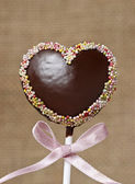 Chocolate cake pops in heart shape — Stock Photo