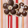 Chocolate cake pops in flower shape - Stock Photo