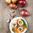 Pickled herring rolls with vegetables on wooden table - Stock Photo