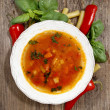 Homemade minestrone soup in a bowl - Stock Photo