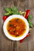Homemade minestrone soup in a bowl — Stock Photo