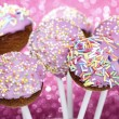 Pink cake pops decorated with colorful sprinkles — Foto Stock