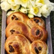 Постер, плакат: Traditional swedish buns A saffron bun in Swedish lussebulle