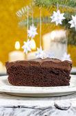Danish cake and traditional danish christmas paper stars — Stock Photo