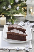 Danish traditional christmas. Chocolate cake and white handmade — Stockfoto