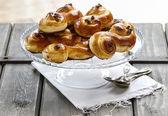 Traditional swedish buns. A saffron bun — Stock Photo