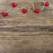 Cute red hearts on wooden background. Copy space. — Foto Stock