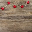 Cute red hearts on wooden background. Copy space. — Stok fotoğraf