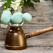Green cake pops on wooden background, springtime set. — Stock Photo