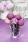 Purple and lilac cake pops, birthday party. — Stock Photo