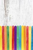 Färgglada trästaket, kopia utrymme — Stockfoto