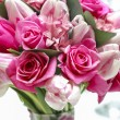 Wedding bouquet of pink flowers. Closeup, selective focus — Stock Photo