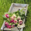 Garden party decor. Bouquet of pink roses and three pretty spoon — Stockfoto