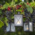 Autumn wreath hanging in the garden — Stock Photo