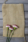 Fresh carnation flowers on hessian canvas. — Stock Photo