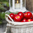 Red apples in basket. Traditional christmas setting. — Foto Stock