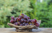 Fresh grapes in wicker basket on wooden table in the garden — Stock Photo