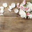 Bouquet of white peonies and pink carnations on wooden backgroun — Stock Photo