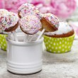 Pastel cake pops and cupcakes on rustic wooden table — Stock Photo