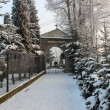 Gate to the historical cemetery in winter. Krakow, Poland — Stock Photo
