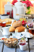 Breakfast table. Selective focus — Stock Photo