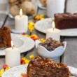 Chocolate cake, beautiful party table setting with candles — Stock Photo