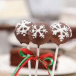 Chocolate cake pops decorated with white icing. Brown chocolate — Stock Photo