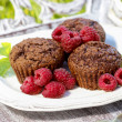 Chocolate cake with raspberries — Stock Photo