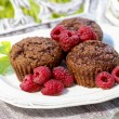 Chocolate cake with raspberries — Stock Photo #28175479