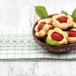 Puff pastry cookies filled with fresh strawberries — Stock Photo