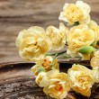 Yellow carnation flowers on wooden background. Selective focus — Stock Photo