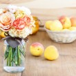 Bouquet of roses and carnations. Selective focus — Stock Photo #28446401