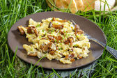 Traditional scrambled eggs with fresh chanterelle — Stock Photo