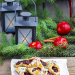 Christmas cookies filled with marmalade, decorated with colorful — ストック写真